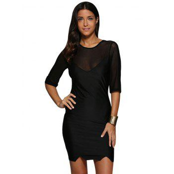 Sexy Round Collar Sheer Spliced Sheath Women Mini Dress