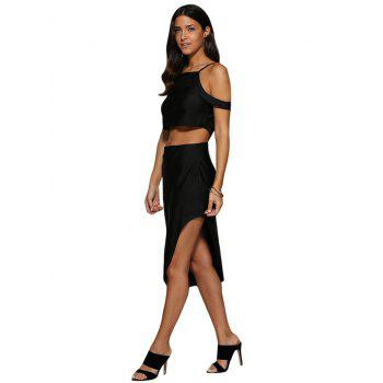 Sexy Cold Shoulder Mid Waist Asymmetrical Women Two Piece Dress - BLACK 2XL