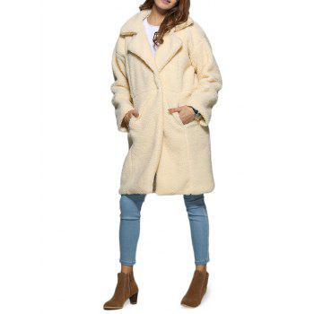 Stylish Turn Down Collar Pure Color Women Coat
