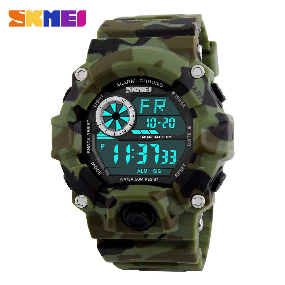 Skmei 1019 Military LED Watch Water Resistant Day Date Alarm Stopwatch Sports Wristwatch skmei 1016 water resistance sports led watch with japan double movt date day alarm stopwatch function rubber band