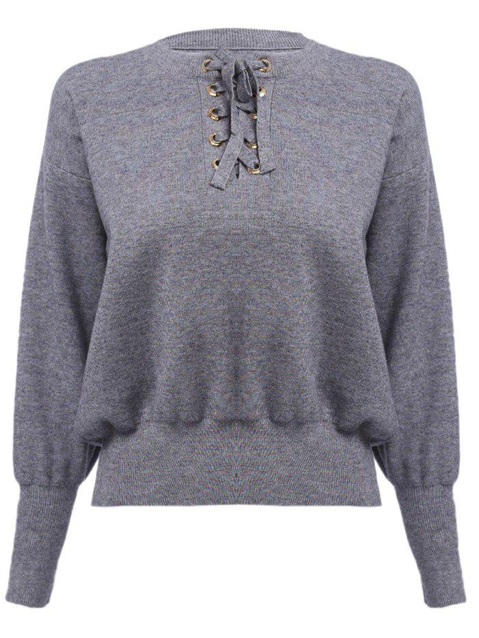 Trendy Round Collar Criss-cross Long Sleeve Pure Color Warm Women Sweater - SMOKY GRAY ONE SIZE(FIT SIZE XS TO M)