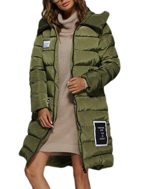 Trendy Hooded Patchwork Double Pocket Women Long Down Coat - ARMY GREEN L