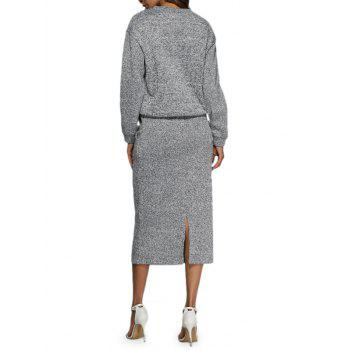 Casual Round Collar Drawstring Pure Color Women Robe Deux Piece - Gris M