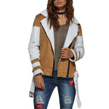 Street Style Turn Down Collar Color Block Women Biker Jacket