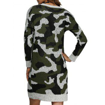 Street Style Round Collar Camouflage Women Sweater Dress - ARMY GREEN ONE SIZE(FIT SIZE XS TO M)