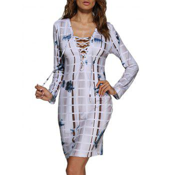 Sexy Front Criss Cross Allover Print Sheath Women Dress