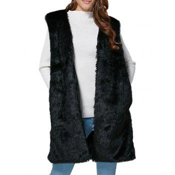 Chic Collarless Chunky Faux Fur Women Waistcoat