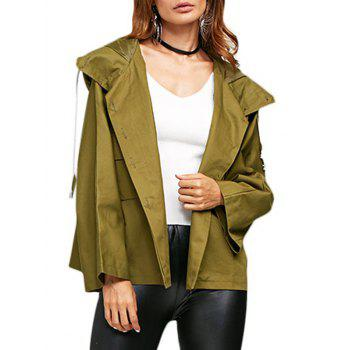 Street Style Hooded Front Double Pocket Women Coat