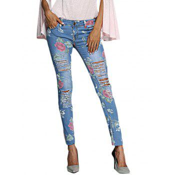 Chic Mid Waist Floral Print Frayed Skinny Women Jeans