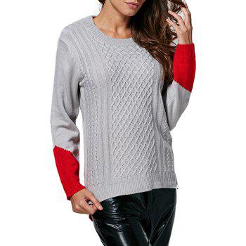 Fashionable Round Collar Color Block Women Pullover