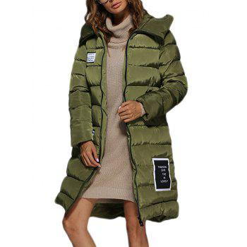 Trendy Hooded Patchwork Double Pocket Women Down Coat