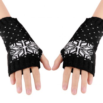 Casual Color Block Snow Pattern Warm Open Finger Christmas Gloves for Women -  BLACK