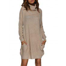 Polar Neck Jumper Dress with Pockets