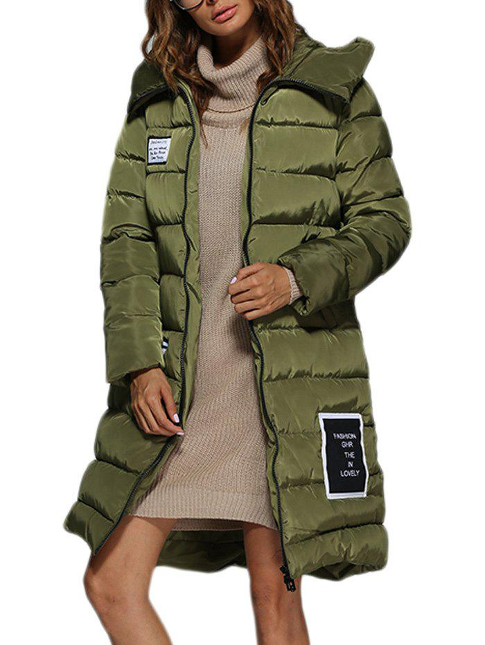 Trendy Hooded Patchwork Double Pocket Women Long Down Coat - ARMY GREEN M