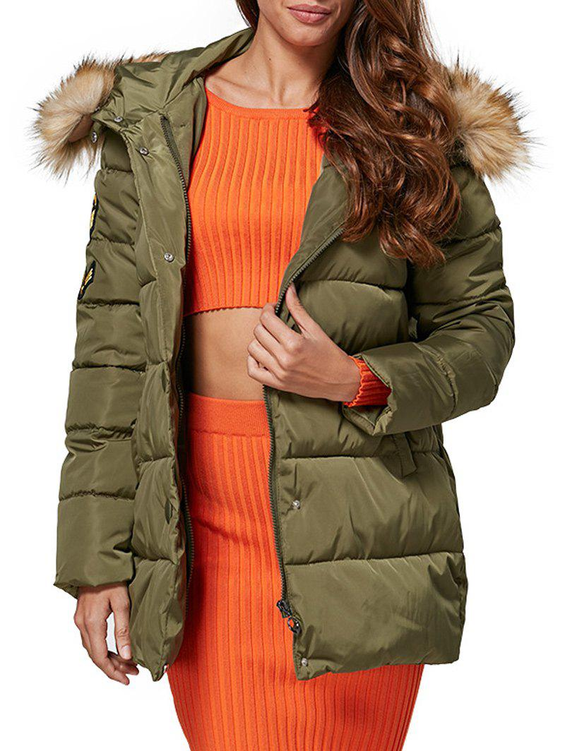 Chic Hooded Fur Collar Pure Color Zipper Women Down Coat - ARMY GREEN M