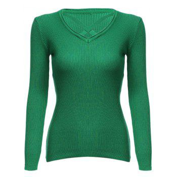 Fashion V-neck Bandage Design Long Sleeve Pure Color Sheath Women Sweater