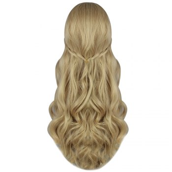 Textured Long Wavy Flaxen Wigs Cosplay for Princess Figure - INFERIOR GOLD