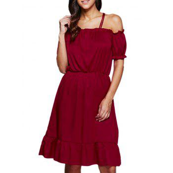 Sexy Off The Shoulder Lantern Sleeve Flounced Women Dress