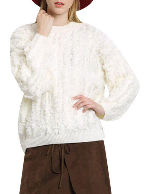 Round Collar Fringed Color Women Pullover - OFF WHITE ONE SIZE(FIT SIZE XS TO M)