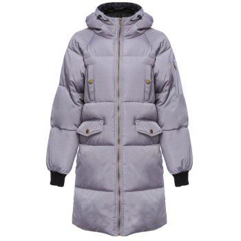 Trendy Hooded Pocket Design Padded Women Coat