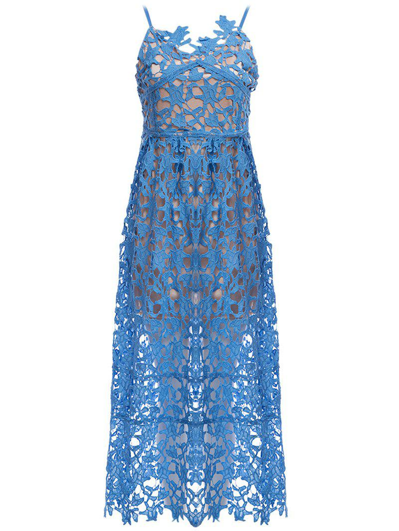 2018 Lace Crochet Slip Evening Bridal Shower Dress AZURE S In Lace ...