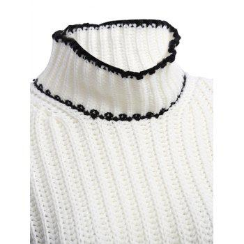 Chic Turtleneck Flare Sleeve Candy Color Women Pullover - WHITE ONE SIZE(FIT SIZE XS TO M)