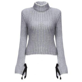 Chic Turtleneck Flare Sleeve Candy Color Women Pullover