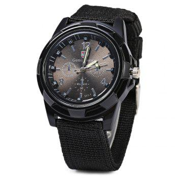 Gemius Army Men Quartz Watch Knitted Canvas Band Sport Wristwatch
