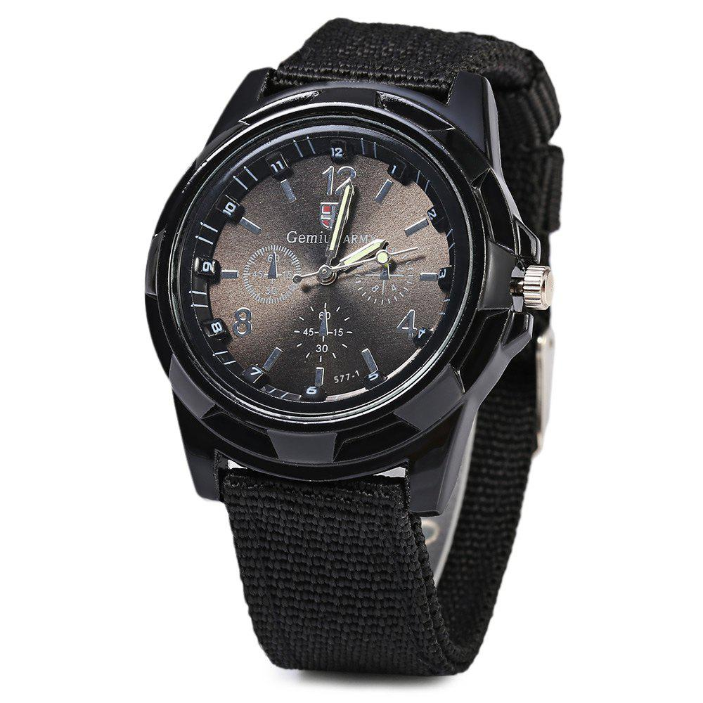 Gemius Army Men Quartz Watch Knitted Canvas Band Sport Wristwatch - BLACK