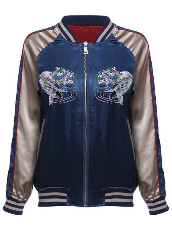 Fish Embroidery Souvenir Jacket - BLUE/YELLOW S