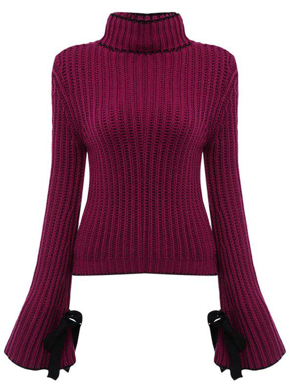 Chic Turtleneck Flare Sleeve Candy Color Women Pullover - VIOLET ONE SIZE(FIT SIZE XS TO M)
