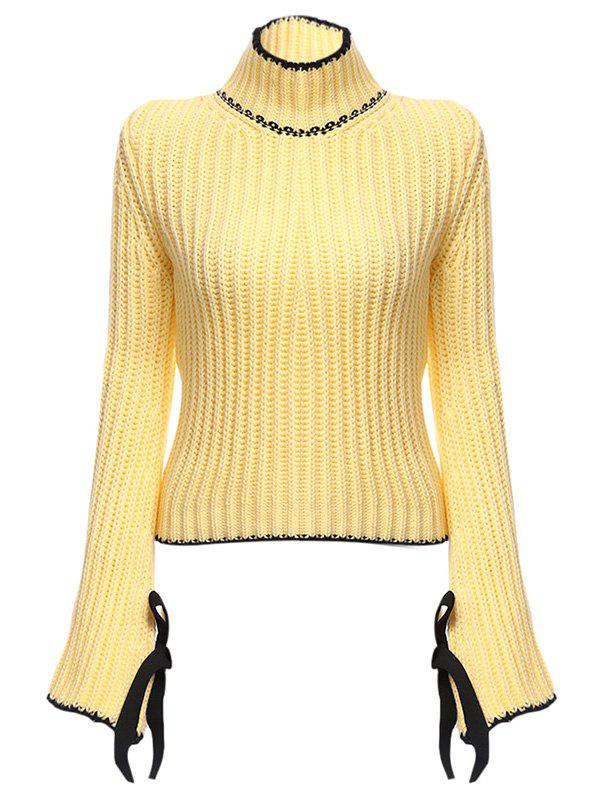 Chic Turtleneck Flare Sleeve Candy Color Women Pullover - YELLOW ONE SIZE(FIT SIZE XS TO M)