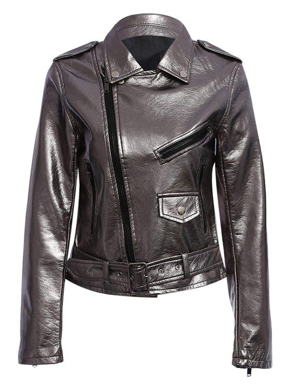 Trendy Turn Down Collar Zippered Women Biker Jacket - GUN METAL L