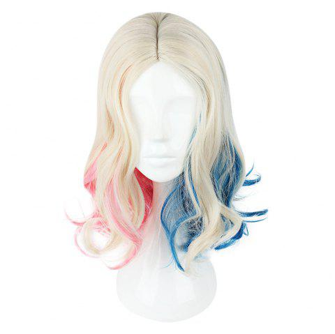 Cosplay Long Curly Mixed Colors Pink Blue Wigs - multicolore 591I