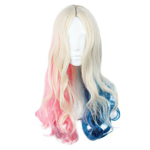 Cosplay Long Curly Mixed Colors Pink Blue Wigs - Bleu et Rose 591G