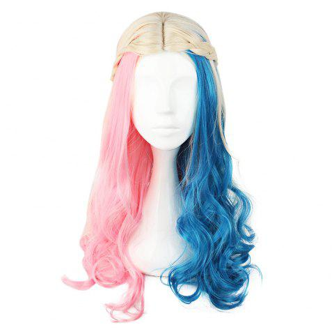 Cosplay Long Curly Mixed Colors Pink Blue Wigs - Coloré 591H