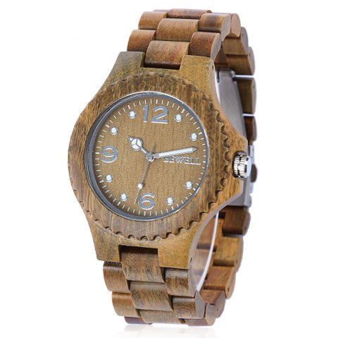 BEWELL ZS-W038A Sandalwood Wooden Unisex Quartz Watch Round Dial Wood Band - VERAWOOD