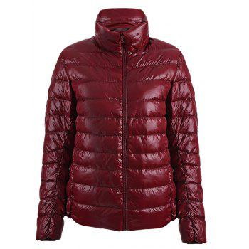 Buy Simple Stand Collar Pure Color Women Coat WINE RED