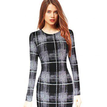 Long Sleeve Print Sheath Midi Dress - 2XL 2XL