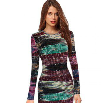 Long Sleeve Print Sheath Midi Dress - COLORMIX M