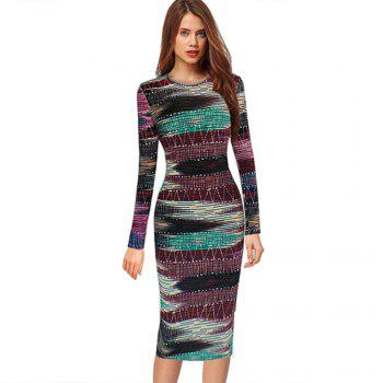 Long Sleeve Print Sheath Midi Dress - COLORMIX XL