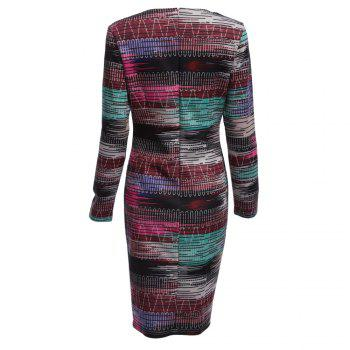 Long Sleeve Print Sheath Midi Dress - XL XL