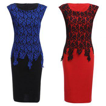 Lace Insert Two Tone Sheath Dress - RED 4XL
