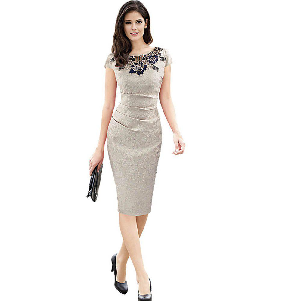 Round Collar Floral Embroidery Bandage Sheath Dress - APRICOT 2XL