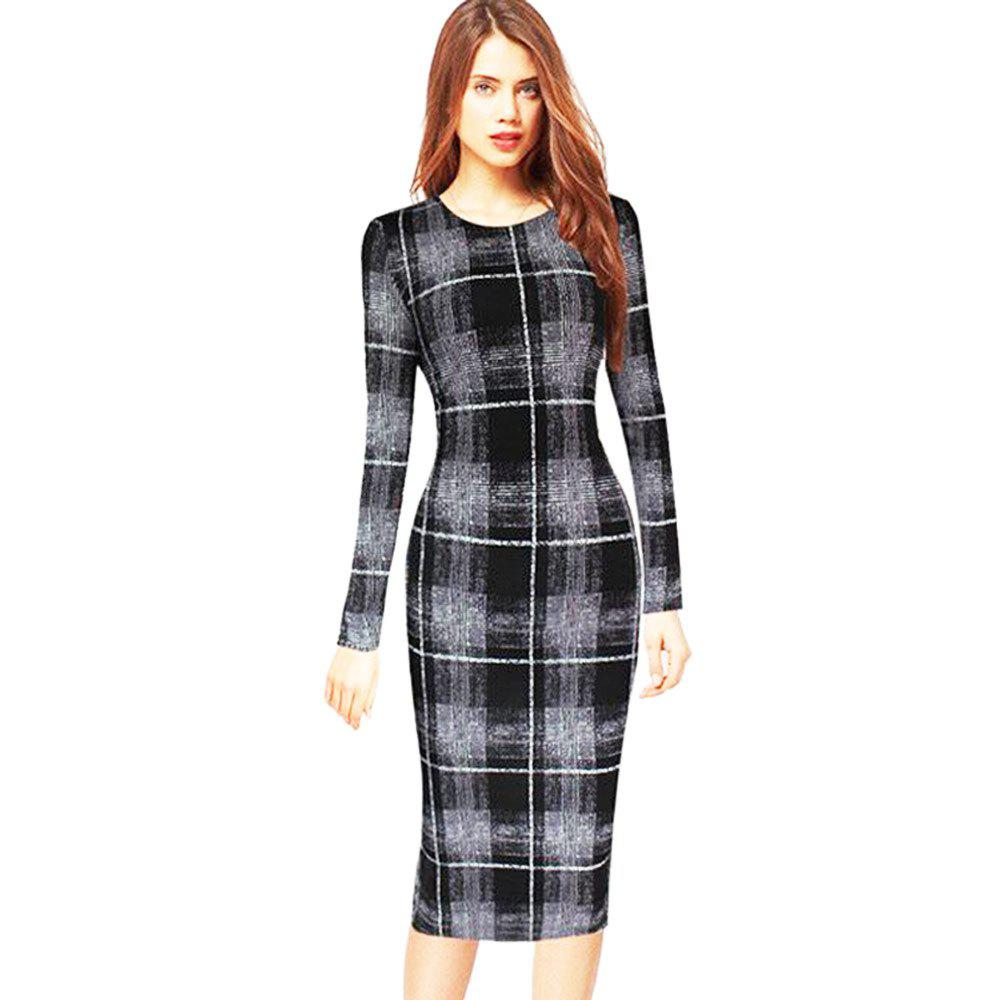 Long Sleeve Print Sheath Midi Dress - CHECKED L
