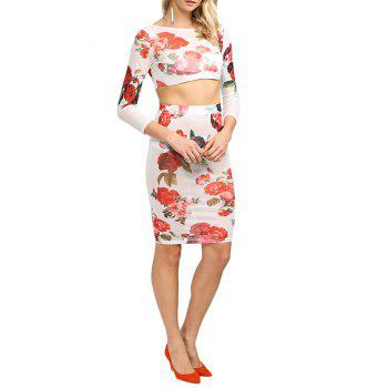 Fresh Style Round Collar Floral Women Two Piece Dress - L L
