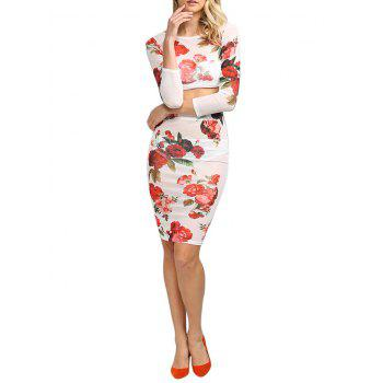 Fresh Style Round Collar Floral Women Two Piece Dress - WHITE L