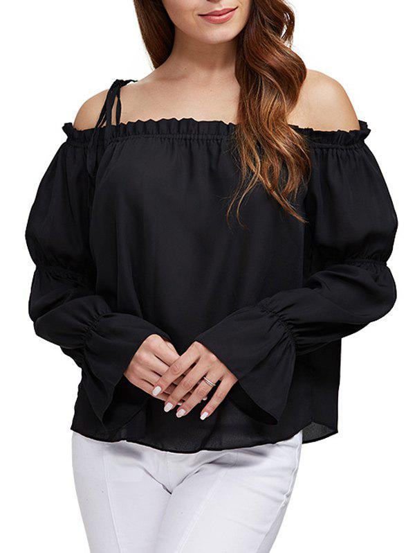Sexy Off The Shoulder Pure Color Latern Sleeve Women Chiffon Blouse alluring off the shoulder tie front pure color chiffon blouse for women