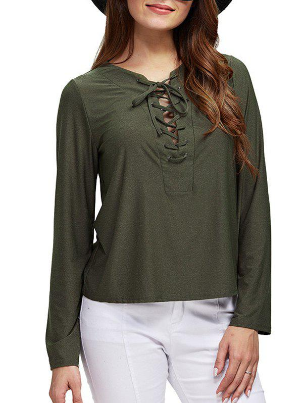 Chic Round Collar Front Criss Cross Loose Women BlouseWomen<br><br><br>Size: XL<br>Color: ARMY GREEN