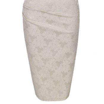 Round Collar Floral Embroidery Bandage Sheath Dress - APRICOT M